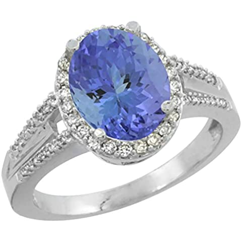 Revoni 14ct de oro blanco Natural Oval 10 x 8 mm Tanzanite anillo acento diamante