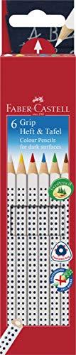 Faber-Castell 113210 - Buntstifte GRIP Heft + Tafel, 6er Etui, Inhalt: weiß, gelb, rot, blau, grün und braun (Blaue Tafel)