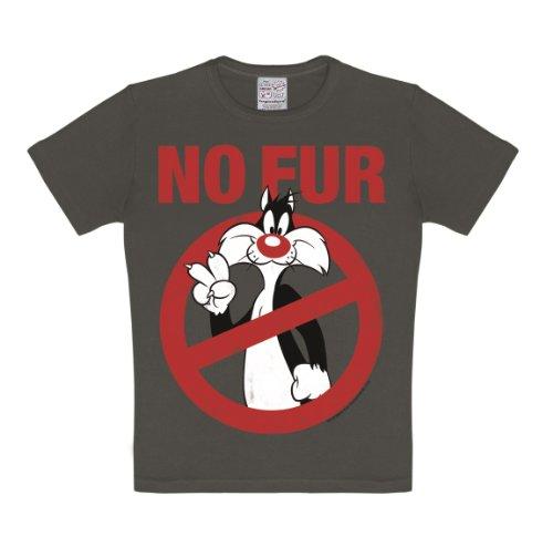 Looney Tunes - Sylvester - No Fur T-Shirt Kinder Jungen - dunkelgrau - Lizenziertes Originaldesign - LOGOSHIRT, Größe 122/134, 7-9 (Looney Toons Kostüme)