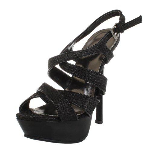 Funky Fourever sintetica da donna, modello Strappy con tacco a Stiletto con plateau, punta aperta Nero (nero)