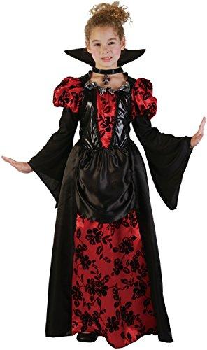 Vampir Prinzessin - Vampir Kostüm Mädchen inkl. Vampirkleid mit Kragen - Halloween Kostüm Mädchen (122/128)