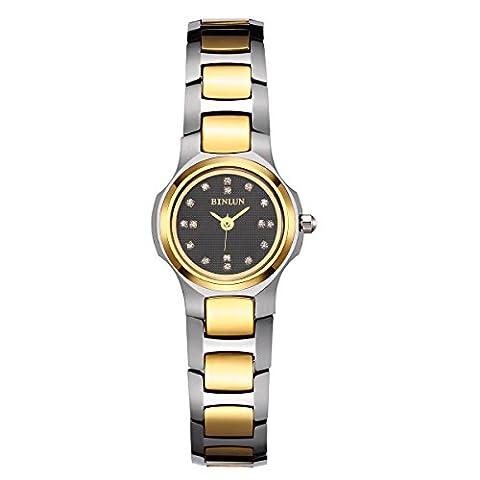 Binlun pour femme Plaqué or 18K tungstène à quartz japonais montre bracelet Strass de Diamant