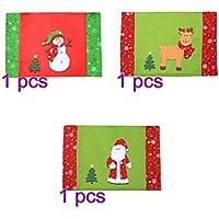 BESTOYARD 3pcs Cuchillo de Navidad Tenedor Placemats Mesa de Comedor Resistente al Calor Esteras Lavables Impresión de Navidad Posavasos Antideslizantes