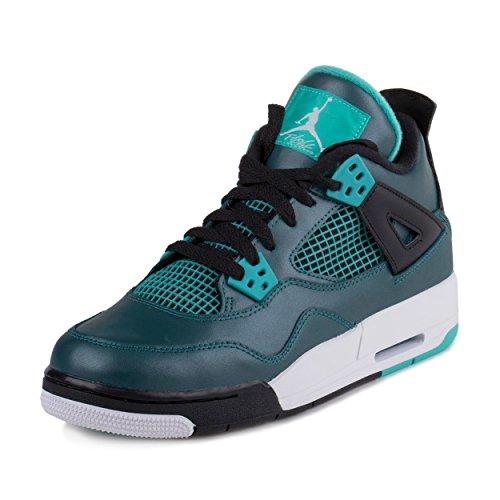 Nike Jungen Air Jordan 4 Retro 30th BG Turnschuhe, Grün/Schwarz (Teal/Weiß-Schwarz-Retro), 38 1/2 EU (Jordan Schuhe Sale Für Männer)