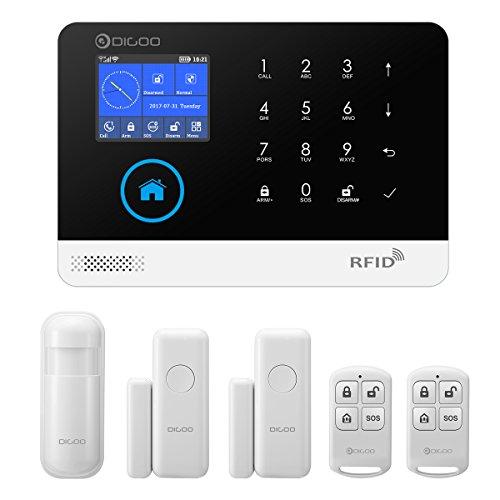 DIGOO DG-HOSA Alarmanlagen 433 MHz Drahtlose GSM & WIFI DIY Intelligente automatisch für Haus Sicherheit Alarmanlagen Kits Infrarot Bewegungsmelder Tür Magnetismus Alarm mit APP Steuerung