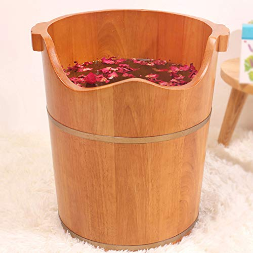 RUYII Fußbad Barrel Natur Eiche Home Health Holz Waschbecken Fuß Badewanne Mit Deckel Fuß Barrel Gesunde Fußpflege Pediküre Schönheit Und Gesundheit,B+40 * 45cm (Fuß-waschbecken)