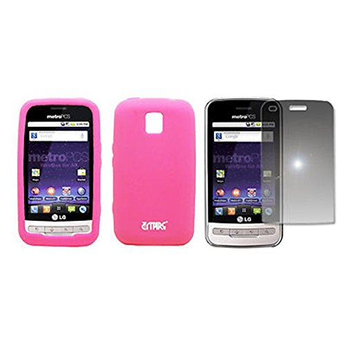 EMPIRE Hot Pink Rosa Silicone Skin Case Étui Coque Cover Couverture + Mirror Films de protection d'écran for MetroPCS LG Optimus M MS690