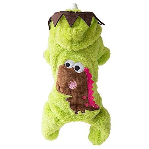 QLMS Pet Coral Fleece Dinosaurier Gedreht Kostümverdickung Plus Vier-Fuß-Kleidung Kleine Hunde Hund Herbst- und Wintermodelle (Color : Green, Size : M)