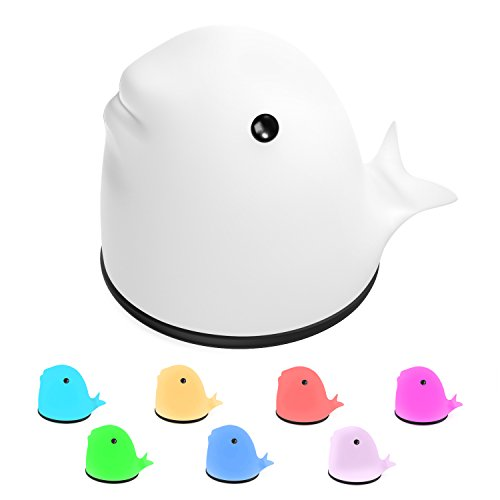 MoKo LED de Suave Silicona, Dolphin Ajustable USB Rechargable Lámpara de Niños con Control Sensible del Golpecito y Multicolor Modos de Luz Cálido para el Regalo del niño, Habitación de Bebés, Dolphin