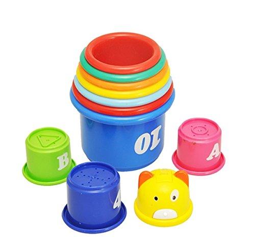 ディーマーク D-Mcark くまタワー コップがさね おもちゃ 字母 数字付き お風呂水遊び 知育玩具1歳