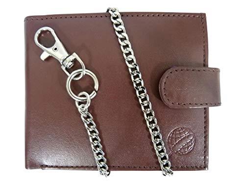 Herren Bikerbörse Leder Geldbörse - Kreditkarten Brieftasche mit Kette - 43cm Kette - 4 Kreditkartenfächer - Münzfach mit Druckknopf - von Roamlite RL506LB