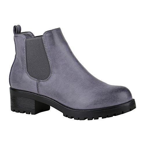 Stiefelparadies Damen Chelsea Boots Blockabsatz Plateau Stiefeletten Leder-Optik Schuhe 149633 Blau Camiri 38 Flandell