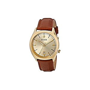 Bulova Accutron II Men's Quartz Watch with Gold Dial Analogue Display and Brown Leather Strap 97B132