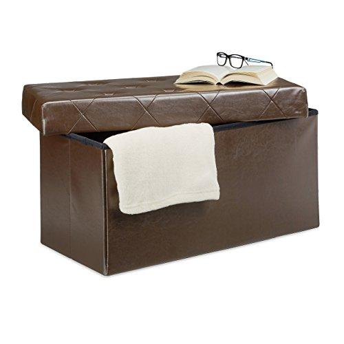 Relaxdays Panchina pieghevole, con scatola per conservarla nello sgabuzzino, sgabello, similpelle, marrone, 38 x 78 x 38 cm