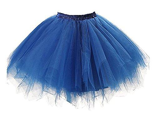 Tutu Damenrock 80er Jahre Neon Tütü Damen Rock Tüllrock Petticoat Pettiskirt 50er Vintage Tutu Kurze Ballet Rock Tanzkleid Unterrock Unterkleid Pink für Frauen Erwachsene 1980s Fancy Dress (Blue)