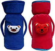 Cutieco Baby Feeding Bottle Cover with Attractive Cartoon, Maroon and Dark Blue (Pack of 2)