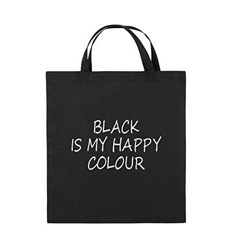 Comedy Bags - BLACK IS MY HAPPY COLOUR - Jutebeutel - kurze Henkel - 38x42cm - Farbe: Schwarz / Silber Schwarz / Weiss