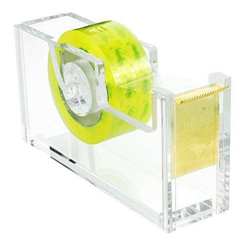 HBF Tischabroller | aus Acryl | transparent Design | für Klebefilm | inklusiv 1 Rolle Klebeband