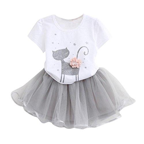 Kinderbekleidung,Honestyi Kinder Mädchen Mode Karikatur Wenig KätzchenGedruckt Hemd Kleid Kleiderset Sommerkleider Partykleider Streetwear Mäntel Röcke (2T/90CM, Weiß)