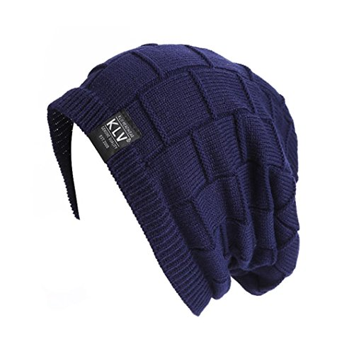 Amlaiworld Herren Winter Warm geflochten Häkeln Wolle stricken Hut (Marine) (Stricken Winter Reversible Hut)