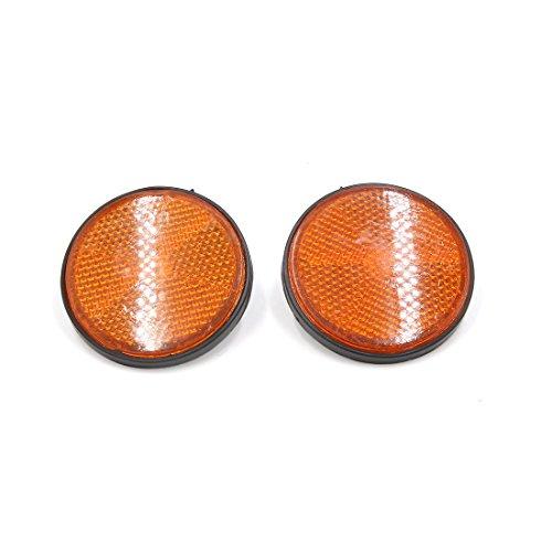 Sourcingmap 56mm Naranja Negro Reflectante Placa Redonda Reflector de Moto 2Pcs