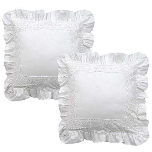 TEALP Kissenbezüge mit Rüschen Shabby Shams Vintage Design 100% Baumwolle Kissenbezug Pure White 2 Stück Home Decor Kissenbezug mit unsichtbarem Reißverschluss 45x45cm