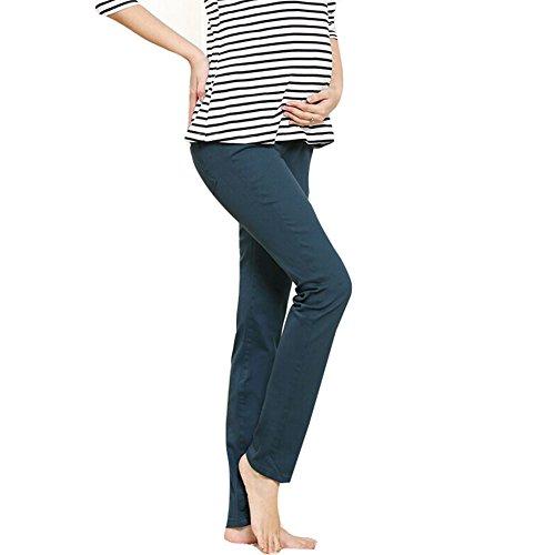 Hibote Grenouillant Pantalons à crayon Coton à ventre Plein de pantalons pour le printemps et l'automne Vert foncé