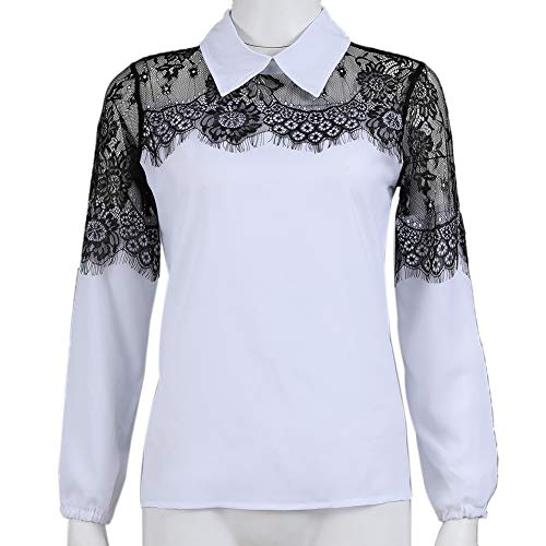 mAjglgE Women Ladies See-Through Lace Patchwork Turn Down Collar Long Sleeve Shirt Top Clothing White S