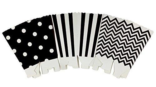 A-goo - 36 cajas de papel para palomitas de maíz, diseño de rayas, color negro y blanco
