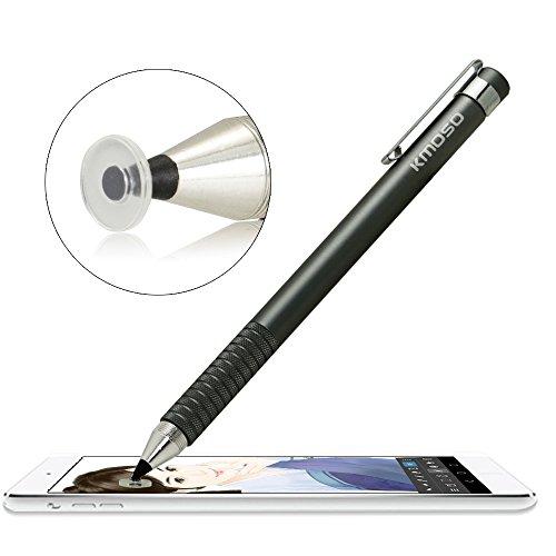 Kmoso® exakte Fine Point Stylus Pen extrem feinstem Spitzen mit Klar Disc Stylus kapazitiver Stylus-Eingabestift für Touchscreen Geräte (mit 3 gratis Ersatz Scheiben) (1, grey) Mobile Stylus Pen