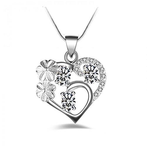 Collier coeur fleur oxyde de zirconium argent 925 Blanc
