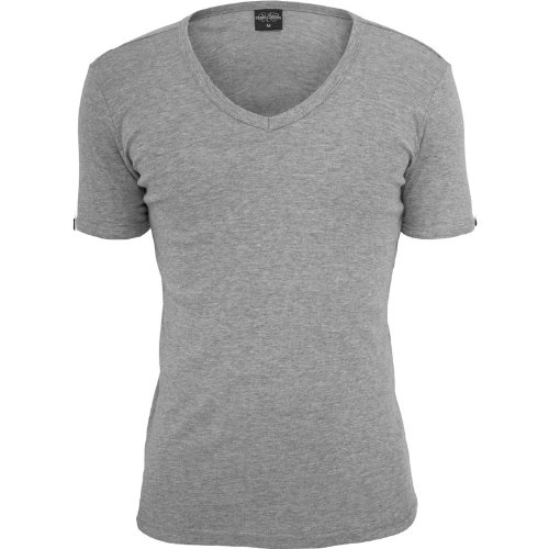 Urban Classics TB367 Slim 1BY1 V-Neck Tee T-shirt Collo V Manica Corta (Grey, L)