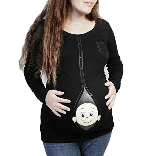 FIRSS Damen 3D Drucken Umstandsmode Lustiges Schwangerschafts-T-Shirt das Mutter Oberseiten erwartet Langarm Pullover