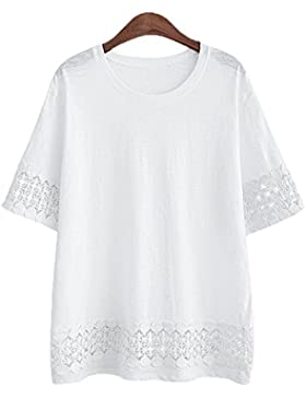 ZhuiKun Camiseta Mujeres Tallas Grandes Cuello Redondo Manga Corta Encaje-Empalme Camisa Blusa
