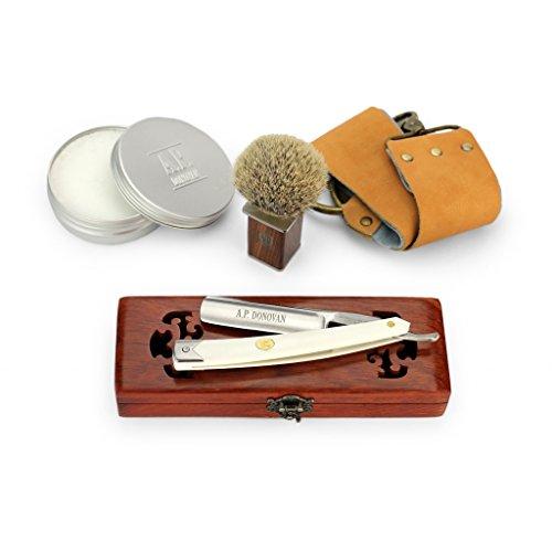 """A.P. Donovan - Solides Rasiermesser 7/8"""" - weißer Kunststoffgriff (Klinge nicht rostfrei), Komplettset mit Seife, Pinsel, Streichriemen + Paste"""