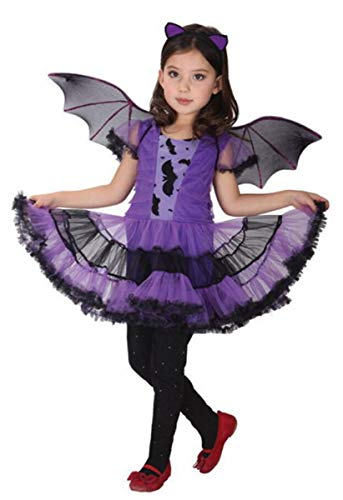 Mädchen Lady Vampirin Vampir Kostüm Prinzessin Vampirkleid Dracula für Halloween Kinder Vampire Karneval Fasching Kleid Costumes Verkleidung Outfit Lila