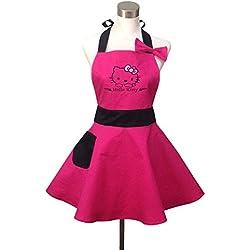 Lovely Hello Kitty rosa Retro cocina delantales para mujer niña algodón cocina salón delantal. Vintage delantal vestido