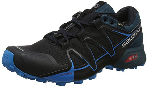 Salomon Speedcross Vario 2 GTX, Zapatillas de Running para Asfalto para Hombre, Negro (Black/Blue Reflecting Pond/Hawaiian Surf Black/Blue Reflecting Pond/Hawaiian Surf), 40 2/3 EU