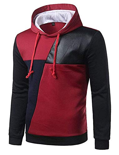 c788007e12a Comfortable Men s Classic Long Sleeve Hooded Stitching Leather Pullover  Sweater Hoodie