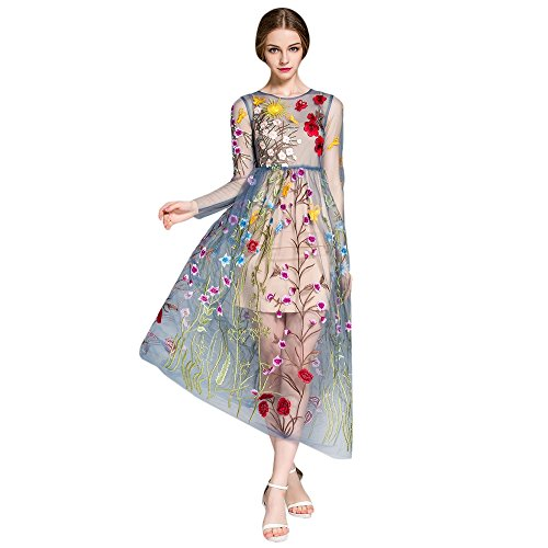 DressLily Floral Dress With Cami Dress,Blue,2XL