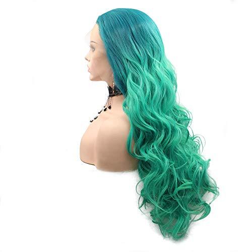 Peluca de sirena para cosplay, color azul y verde, pelo sintético con encaje frontal, para mujer, línea...