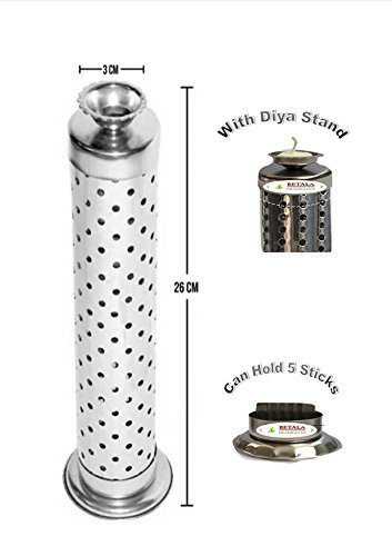 BETALA FRAGRANCE Steel Incense Stick Holder with Ash Catcher for 8-inch Agarbattis (Silver)