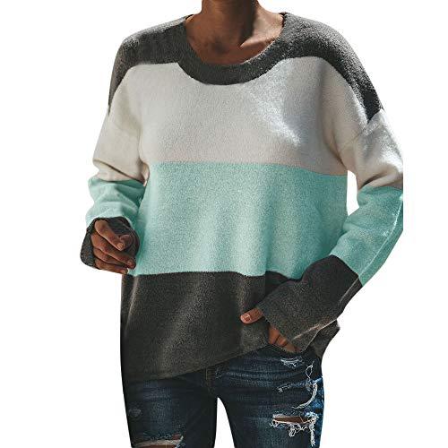 MYMYG Frauen lässig Sweatshirt Langarm O Neck Stitching Farbe Gestreifte Bluse Tops Tunika Top...
