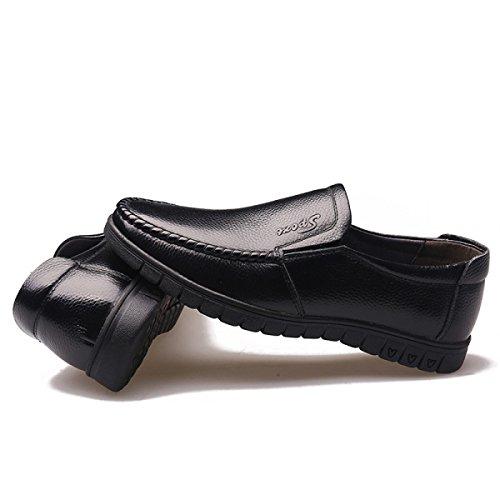 GRRONG Herren-Leder-Schuhe Mittelalter Freizeit Echtes Leder-Schwarz Black