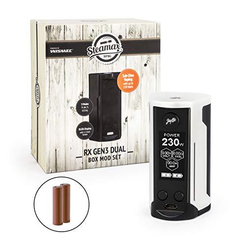 Wismec/Steamax RX Gen3 Dual Akkuträger 230 Watt + 2 x 3000 mAh Akku Mod-Box-Set E-Zigarette E-Shisha (dieses Produkt enthält kein Nikotin) (weiss) -