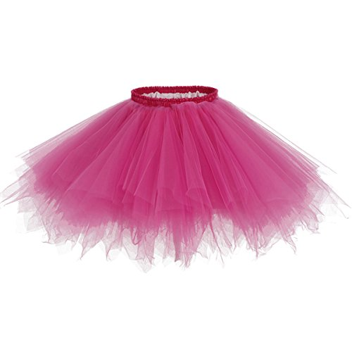 Bridesmay Tutu Damenrock Tüllrock 50er Kurz Ballet Tanzkleid Unterkleid Cosplay Crinoline Petticoat für Rockabilly Kleid Fuchsia M