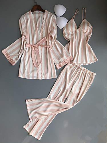 WOOAI 3 Stück Striped Sexy Frauen Pyjama Sets Nachthemd + Robe + Pant Female Pyjamas, rosa Farbe, L