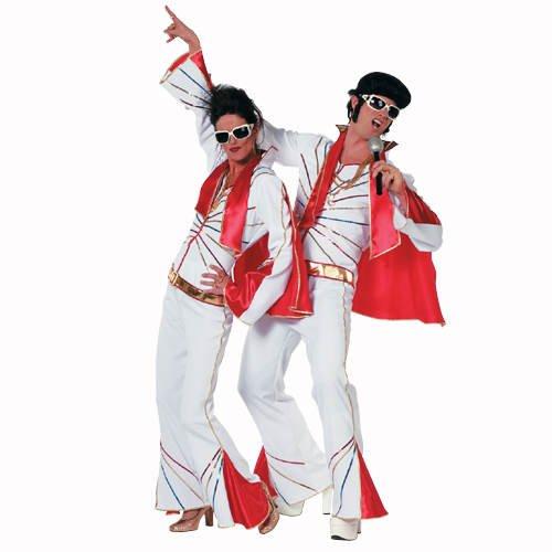 Weißen Elvis Kostüm - PARTY DISCOUNT Herren-Kostüm Mr. Elvis, weiß-rot, Gr. 58-60