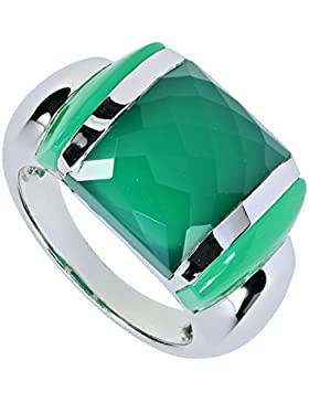 La Luna Design Damen-Ring Sterling-Silber 925 rhodiniert Chalcedon Achat grün