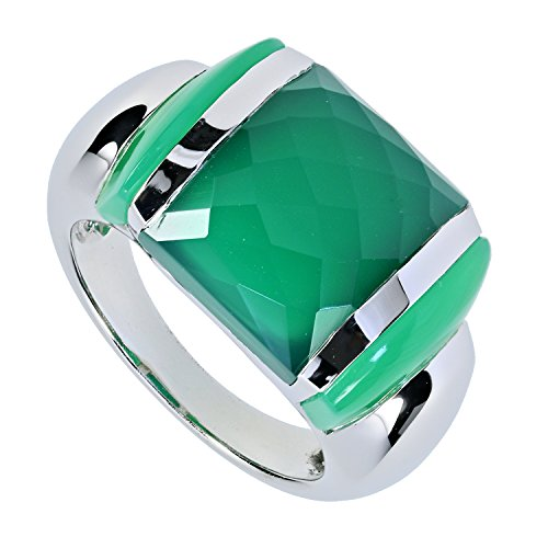 LaLuna Design Damen-Ring Sterling-Silber 925 rhodiniert Chalcedon grün RW18